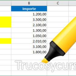 Buscar y remarcar los valores en la hoja Excel