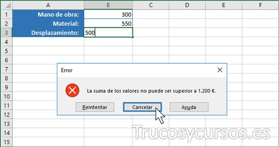 Limitar la entrada a la suma de varios valores Excel