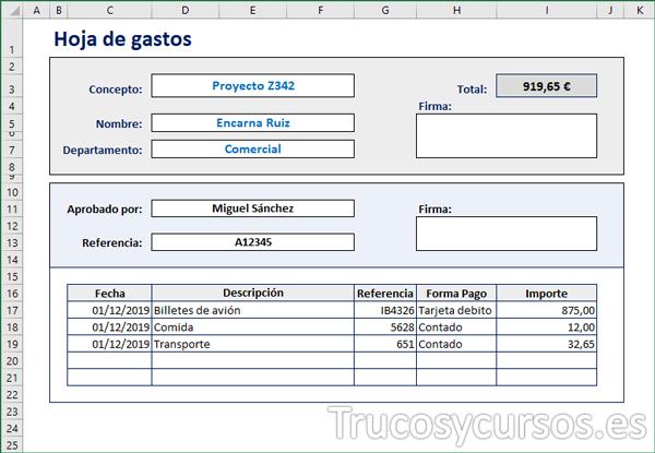 Formulario de la hoja de gastos en Excel
