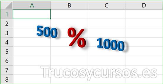 Aplicar porcentaje de 2 valores en Excel