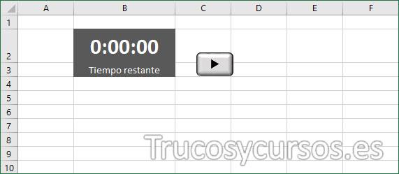 Hoja Excel con el cronómetro regresivo