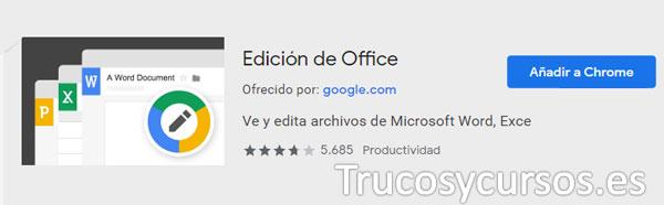 Resultado de la extensión Edición de Office