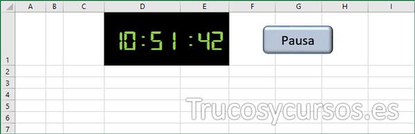 Cronómetro insertado en la hoja Excel con botón de pausa