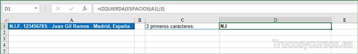 Extraer 3 PRIMEROS CARACTERES
