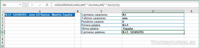 Extraer 2 PRIMERAS PALABRAS