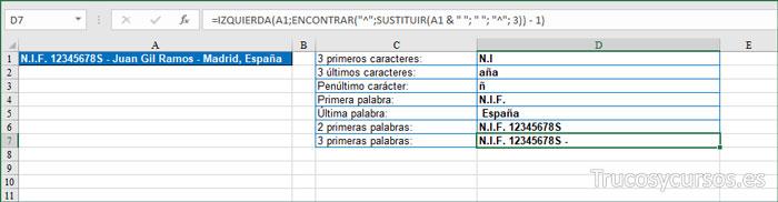 Extraer 3 PRIMERAS PALABRAS