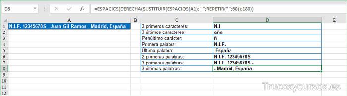 Extraer 3 ÚLTIMAS PALABRAS