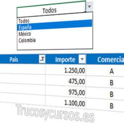 Lista para filtrar datos en Excel