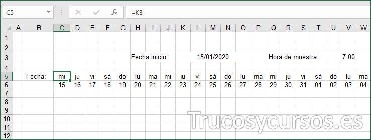 Hoja Excel mostrando el día del mes