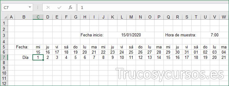 Hoja Excel, fila para indicar el día de menstruación