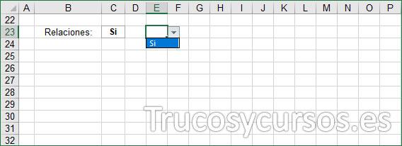 Hoja Excel, fila para indicar si existen relaciones sexuales