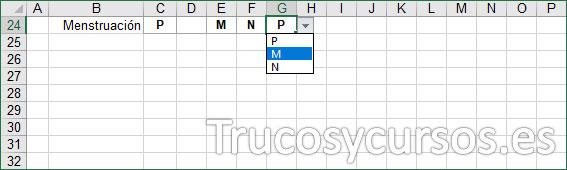 Hoja Excel, fila para indicar la menstruación
