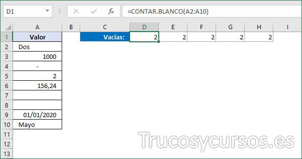 Rango D1:H1 con el número 2 de celdas vacías en Excel