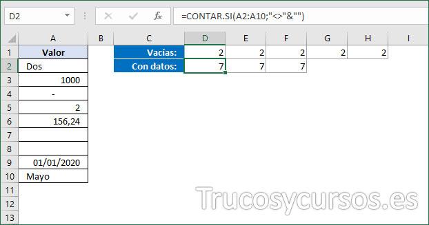Rango D2:F2 con el número 7 de celdas con datos en Excel