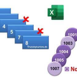 Valores que faltan en una columna correlativa Excel