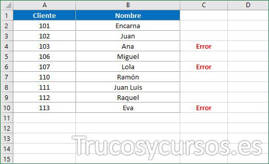 Columna Excel indicando valores no correlativos