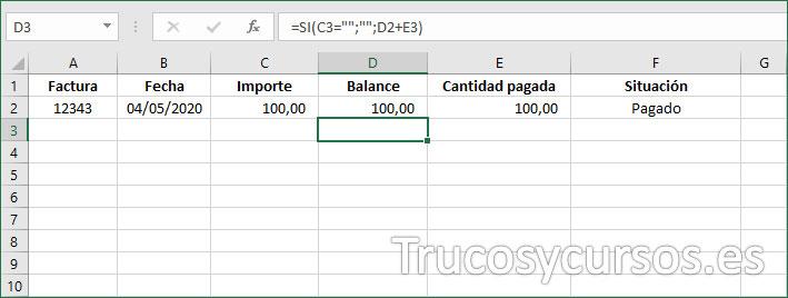Columna D con la fórmula del balance
