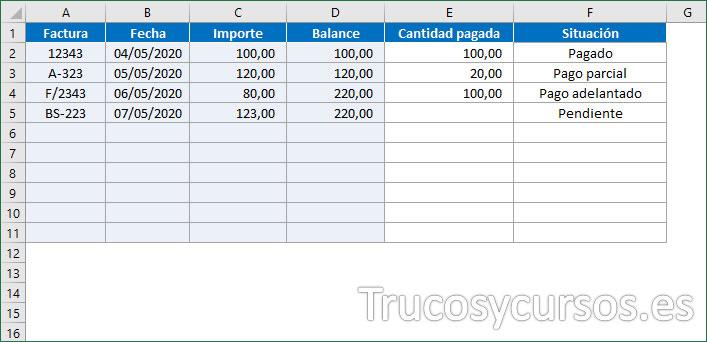 Hoja Excel con el gestor de situación de facturas Excel