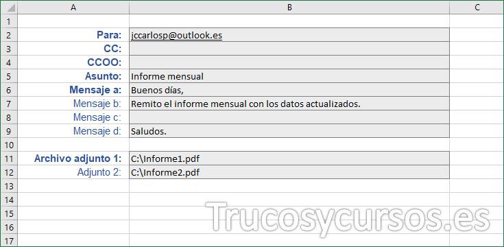 Datos para el correo electrónico en la hoja Excel