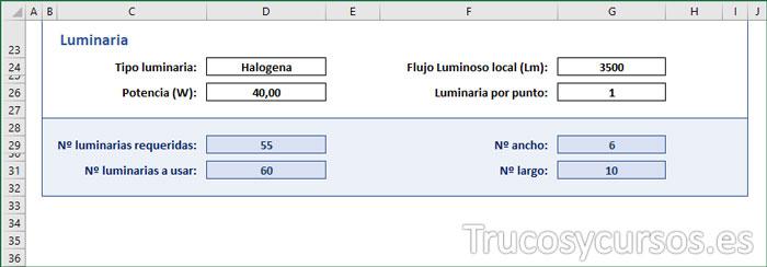 Plantilla Excel, área de luminaria