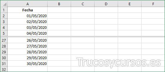 Rango A2:A31 con las fechas deseadas para resaltar las deseadas