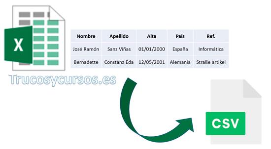Error al exportar como archivo .csv en Excel