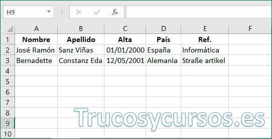 Archivo Excel con datos para exportar