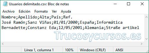 Bloc de notas con archivo csv delimitado