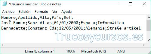 Bloc de notas con archivo csv Macintosh