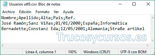Bloc de notas con archivo csv UTF-8