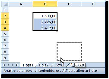Hoja Excel con Rango seleccionado con el cursor y sobre la etiqueta de la Hoja3.