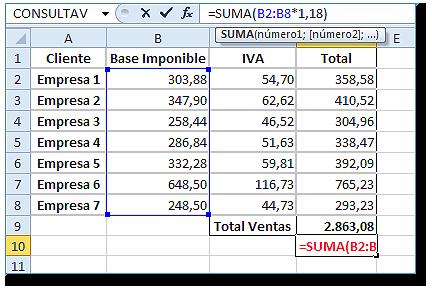 Hoja Excel con Formula matricial editada en la barra de fórmulas (sin llaves)