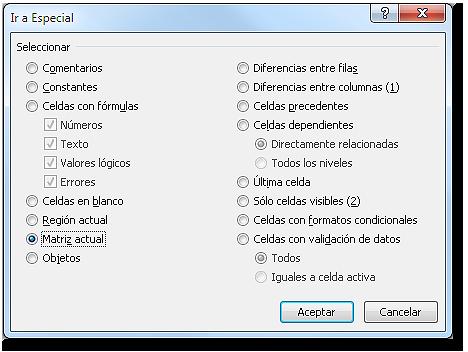 Cuadro de diálogo: Ir a especial con la opción matriz actual seleccionada