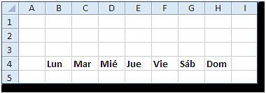 Rango B4:H4 mostrando el encabezado de los días de la semana.