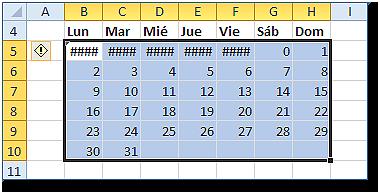 Rango B6:H10 con fórmula matricial de los días de la semana