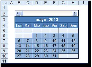 Resultado del calendario mensual.