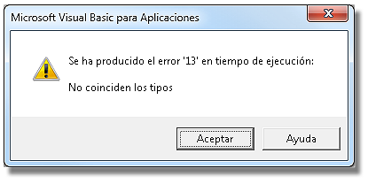 Mensaje de Error 13 al no coincidir los tipos de datos de las variables