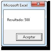 MsgBox con el resultado 500