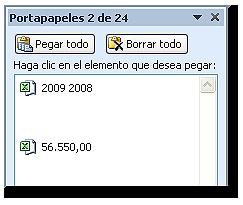 Detalle de elementos copiados (56.550,00 y 2009 2008) en el portapapeles