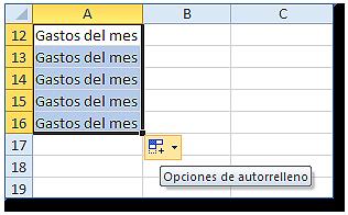 Hoja Excel con el Botón de opciones de autorelleno (muestra etiqueta)