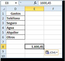 Hoja Excel con celda E8 pegada como valor (ver valor en barra de fórmulas)