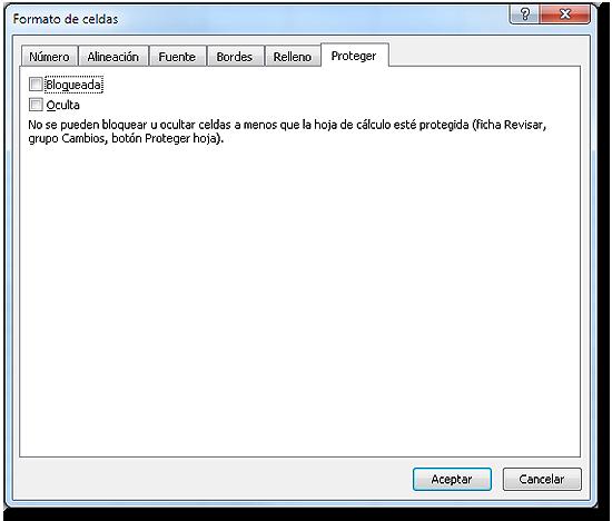 Cuadro de diálogo formato de celdas, Ficha proteger con opción bloqueada desactivada