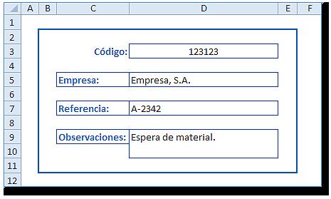 Hoja Excel con formato bordes y relleno (aspecto de formulario)