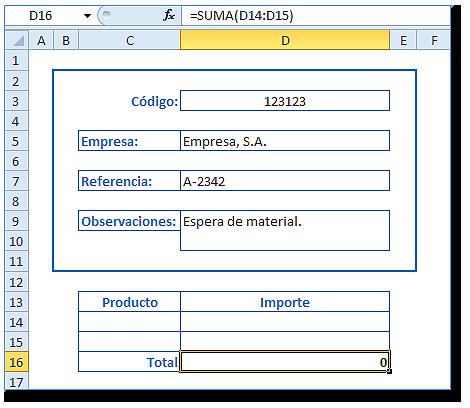Hoja Excel con aspecto de formulario, celda D16 =SUMA(D14:D15).