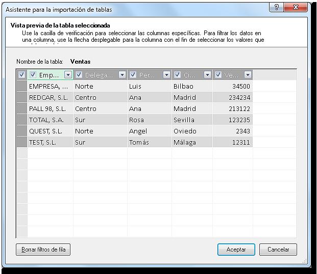 Asistente de importación: Vista previa de tabla seleccionada.