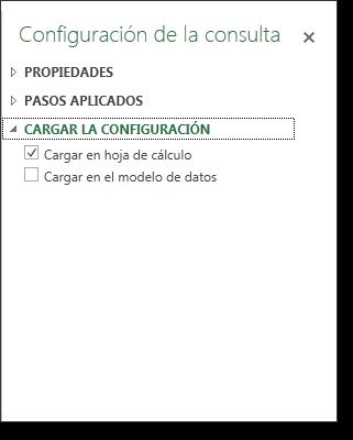 Panel configuración consulta: cargar la configuración