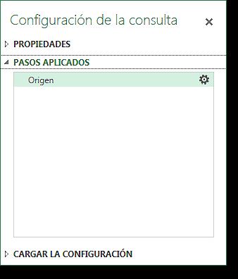 Panel configuración consulta: pasos aplicados