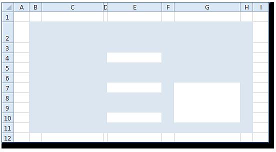 Hoja Excel con color en formulario y de celdas