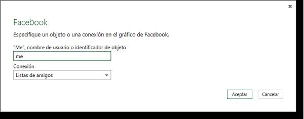 Cuadro de diálogo de conexión de Facebook.