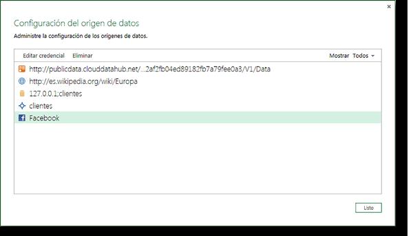 Ventana del administrador de conexiones del origen de datos externo.